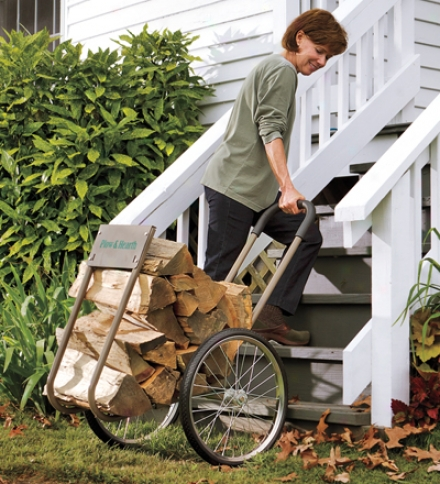 Heavy-duty Steel Wood Caddy With Large Rubber Wheels