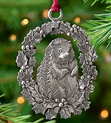 Hedgehog Pewter Ornament