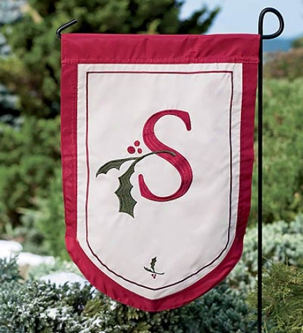Holiday Monogram Fade- And Weather-resistant Garden Flag In the opinion of Red Border And Holly Youth