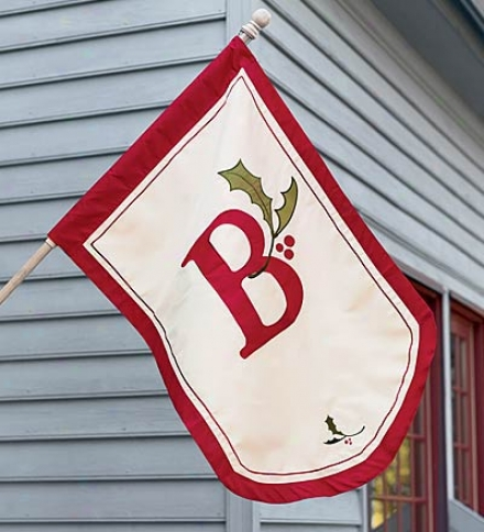 Holiday Monogram Fade- And Weather-resistant House Flag With Red Border And Holly Sprig