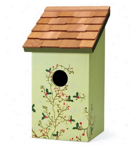 Holly Stenciled Painted Birdhouse For Bluebirds
