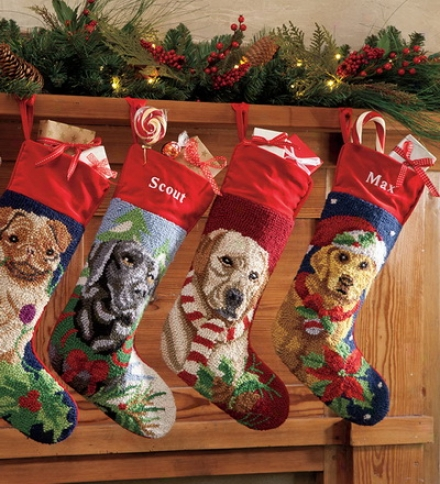 Hooked Wool Dog Christmas Stockings With Free Personalization
