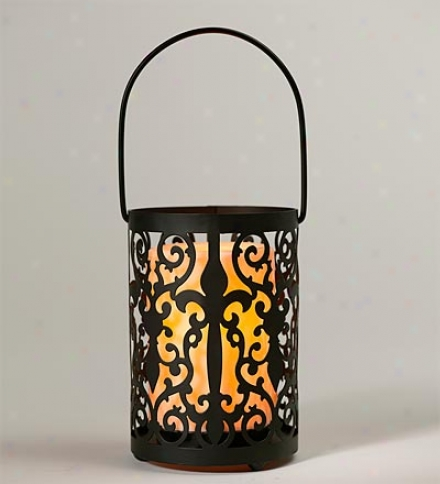 Indoor/outdoor Metal Fleur De Li Lantern With Led Candle And Timer
