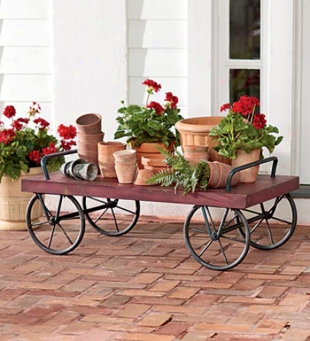 Indoor/outdoor Rolling Antique Red Metal Cart