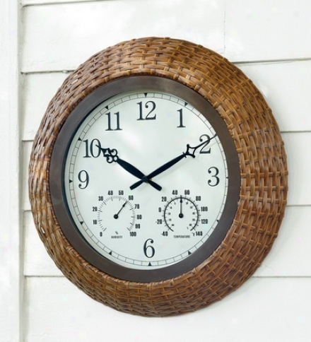 Indoor/outdoor Wicker Wall Clock/thermometer With Easy-to-reaf Numbers