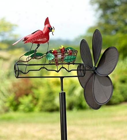 Kinetic Spinning Garden Art Whirligig