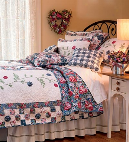 King Springtime Cotton Shell Quilt With Crocheted Detailing