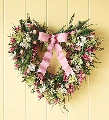 "Large 22"" Handcrafted Natu5al Heart-shaped Pink Wreath"