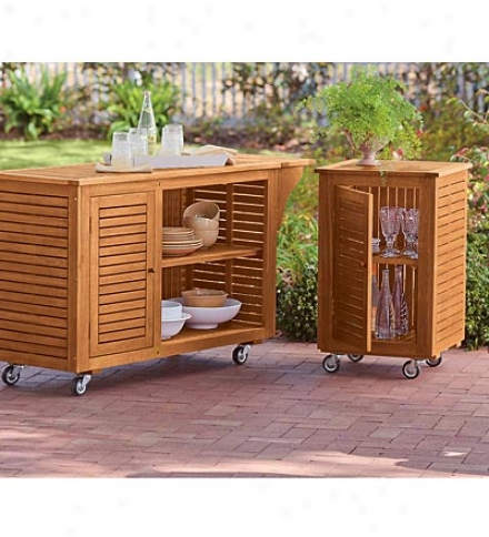 Large Eucalyptus Outdoor Rolling Cart