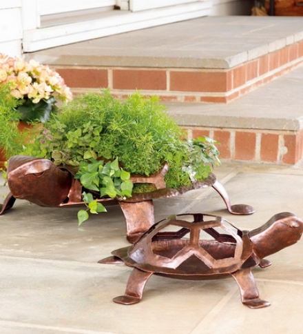 Large Hand-hammered Iron Turtle Planter With Antique Copper Finish