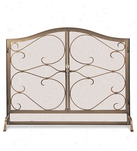Largr Iron Gate Hearth Screen With Doors
