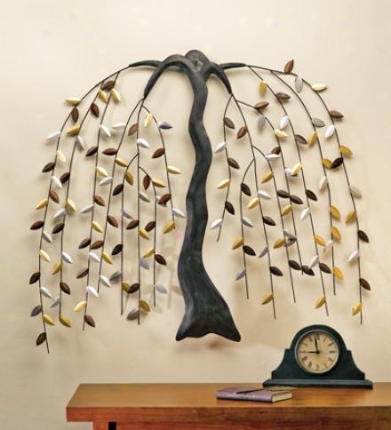 Large Metal Willow Tree Wall Art