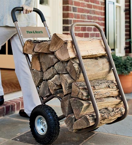Large Pneumatic-wheel Sturdy Log Cart