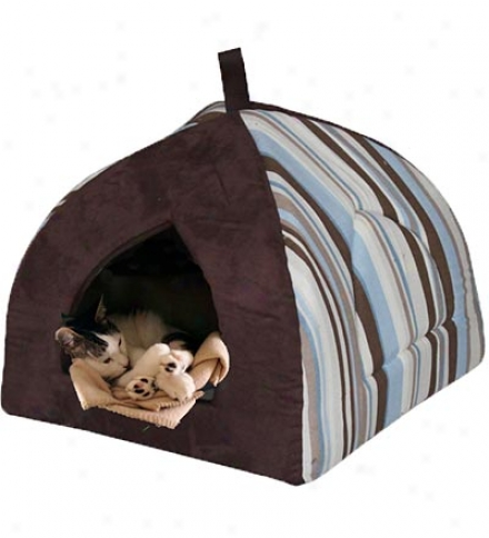 Large Striped Fabric Cucullate Pet Bed For Cats And Medium-sized Dogs