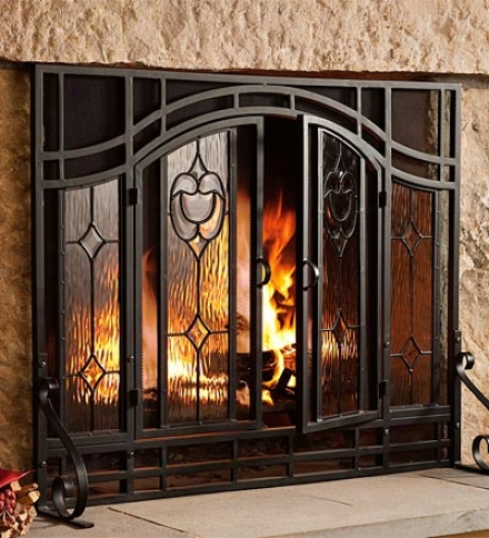 Large Two-doo rFloral Fireplace Screen With Beveled Glass Panels And Tool Setsavd $49.95 On The Set!