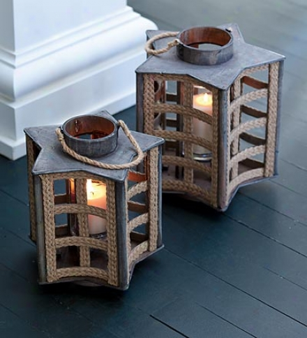 Large Wooden And Rope Star Shaped Lantern