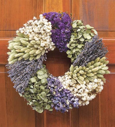 Lavender Patchwork Garland, 16&quot; Dia.