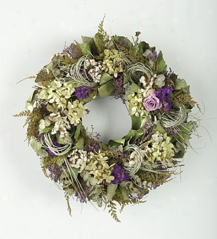 Lavender Rose Wreath, 16&qjot; Dia.