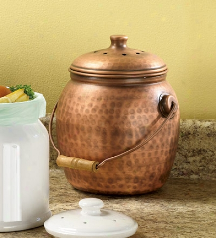 Leakproof, Odor-free 1.5 Gallon Copper-plated Compost Pail