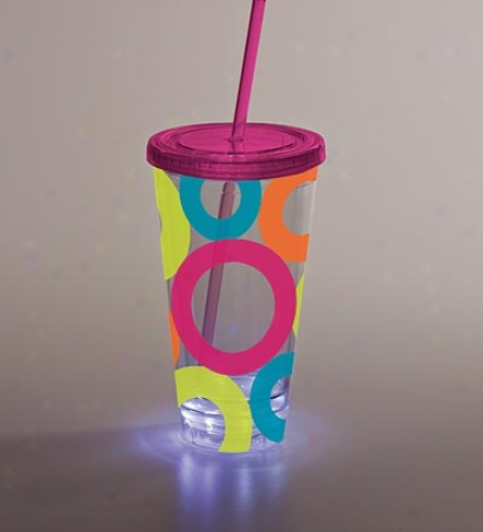 Light-up Bright Circles Insulaated Tumbler With Lid And Straw