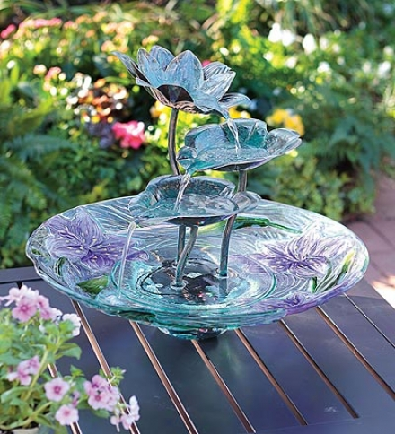 Lighted Glass And Metal Lotus Flower Self-contained Fountain