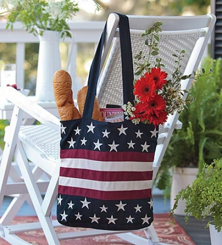 Lined Cotton Canvas Americana Tote Bag