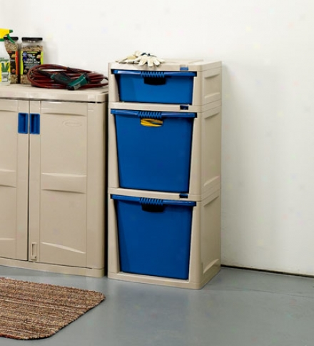 Low-maintenance Resin Three-drawer Storag3 Tower For Garage Storage