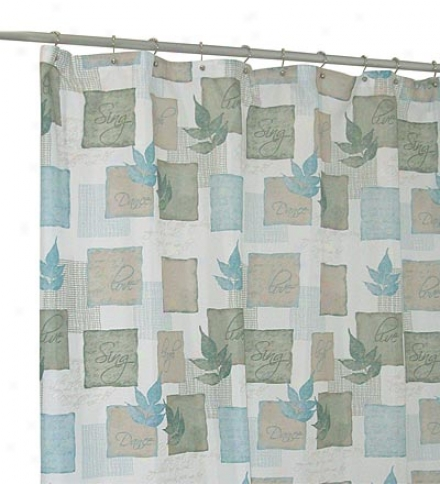 Machine Washable Leaf Pattern Polyester Fabric Shower Curtain