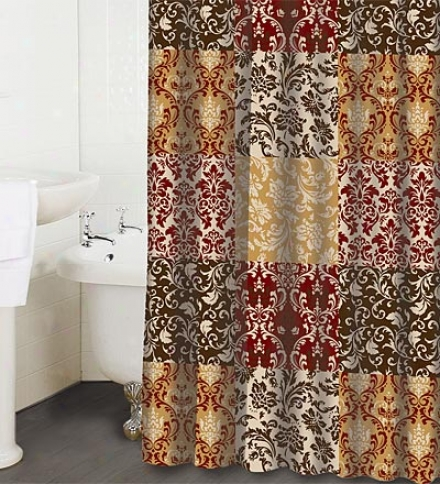 Machine Washable Opus Red Polyesyer Fabric Shower Curtain
