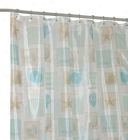 Machine Washable Seaside Polyester Fabric Shower Curtain