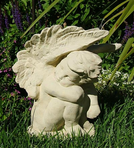Made In Usa Cast-srone Crying Angel Garden Statue