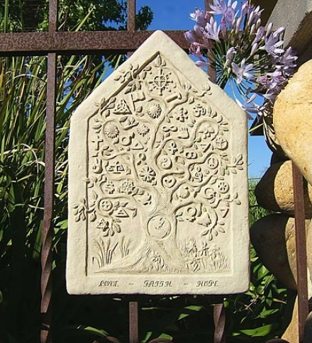 Made In Usa Cas-tstone One Earth Tablet Wall Hanginy By Michael Gentilucci