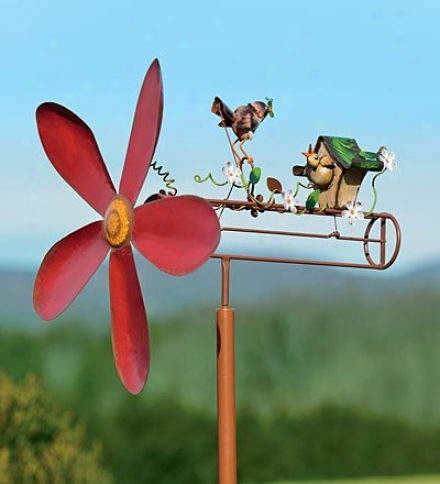 Mama And Baby Bird Feeding Time Whirligig Garden Accent With Stake