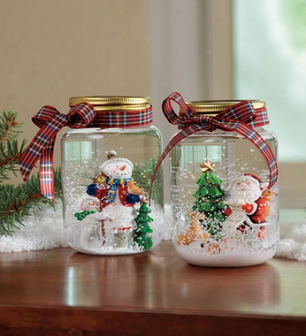 Mason Jar Santa Orr Snowman Snow Globebuy 2 Or More At $14.95 Each
