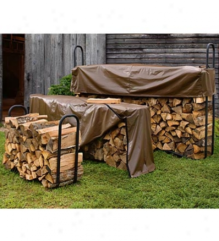 Medium Elevated Powder-coatd Tubular Steel Firewood Rack With Coversave $9.95 On Thr Set!