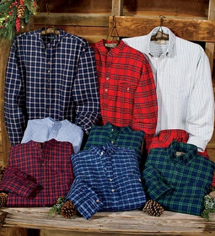 Men's Full Button Irish Brushed-cotton Flannel Shirt