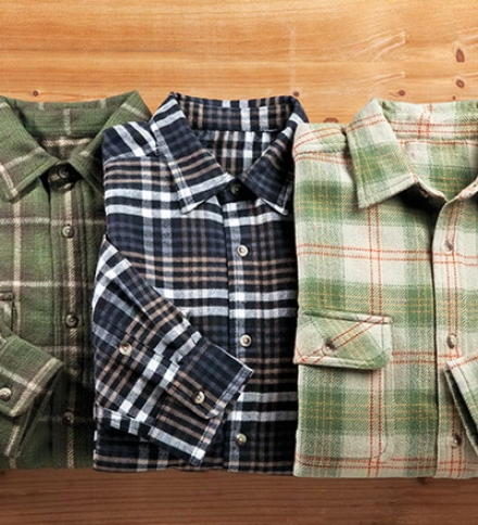 Men's Heavyweight Button-down Flannel Shirt Through  Pockets