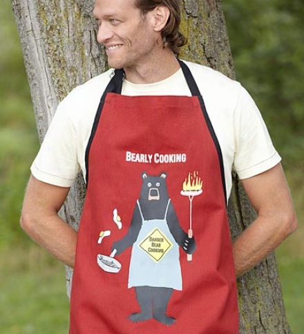 "Men's ""bearly Cooking"" Cotton Twill Apron"
