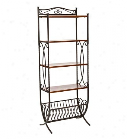 Mstal 4-shelf Amelia Etegere Stane With Wood Shelves & Metal Basket