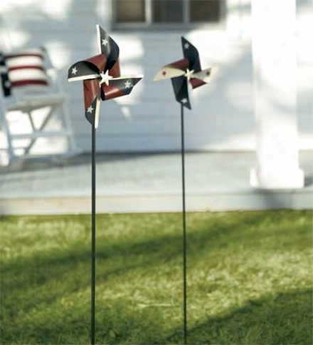 Metal Americana Pinwheels, Set Of 2buy 2 Or More At $17.95 One and the other