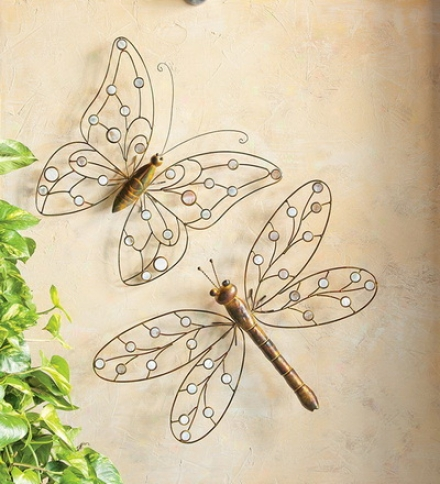 Metal And Capiz Shell Dragonfly Wall Art