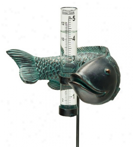 Metal And Resin Garden Fish Rain Gauge
