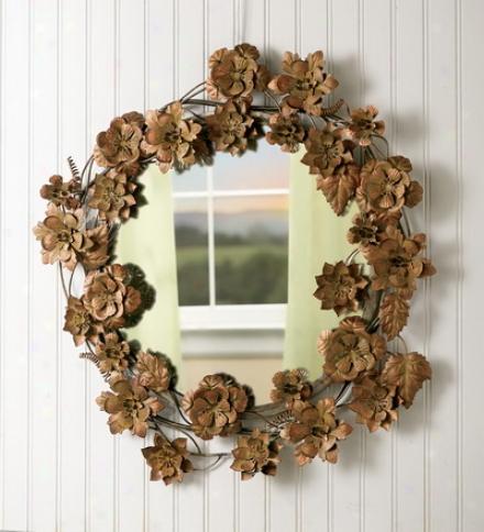 Metal Flower Wreath Round Mirror
