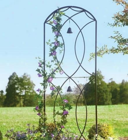 Metal Garden Trellis With Two Bells