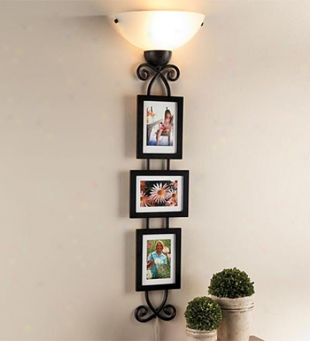 Metal Picture Wall Sconce With Three Magnetic Frames