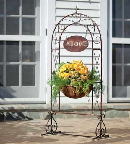 Metal Scrollwork Welcome Sign Basket Planter With Bell Accent