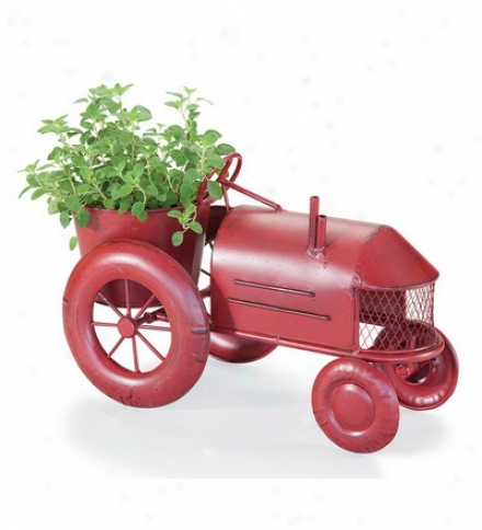 Metal Vintage Style Red Tractor Planter