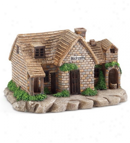 Miniature Polyresin Fairy Village Blwcksmith Shop Sculpture