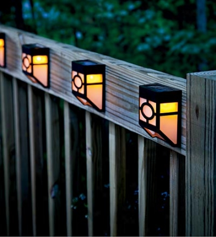 Mission-style Solar Deck Accent Liyhts, Set Of 4