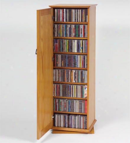 Mission-style Spinning Media Stand With Door